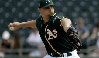 FILE - In this March 8, 2018, file photo, Oakland Athletics starting pitcher Kendall Graveman throws against the Los Angeles Angels during the first inning of a spring baseball game in Mesa, Ariz. Graveman will take the ball on opening day for Oakland in a second straight season, eager to be the leader of a young rotation at age 27.  (AP Photo/Chris Carlson, File)