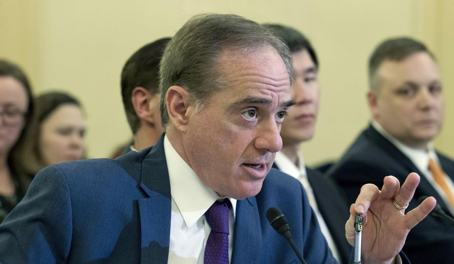 Veterans Affairs Secretary David Shulkin testifies on FY2019 and FY2020 budgets for veterans programs before the Senate Committee on Veterans Affairs on Capitol Hill, Wednesday, March 21, 2018, in Washington. (AP Photo/Jose Luis Magana)