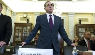 Veterans Affairs Secretary David Shulkin arrives to testify on veterans programs before the Senate Committee on Veterans Affairs at Capitol Hill, Wednesday, March 21, 2018, in Washington. (AP Photo/Jose Luis Magana) ** FILE **