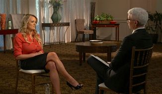 """CNN prime-time host Anderson Cooper interviews adult film star Stormy Daniels in an interview set to air Sunday on CBS' """"60 Minutes.""""  Mr. Cooper will also interview Karen McDougal on his own network on Thursday. (CBS News)"""