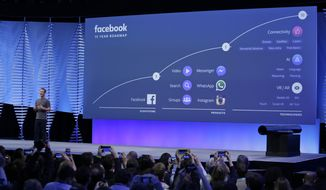 FILE- In this April 12, 2016, file photo, Facebook CEO Mark Zuckerberg talks about the company's 10-year roadmap during the keynote address at the F8 Facebook Developer Conference in San Francisco. Facebook is taking baby steps for now to address the latest privacy scandal after news broke Friday, March 16, 2018, that Cambridge Analytica may have used data improperly obtained from roughly 50 million Facebook users to try to sway elections. (AP Photo/Eric Risberg, File)