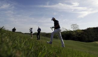 Jordan Spieth walks to the third tee during round-robin play at the Dell Technologies Match Play golf tournament, Thursday, March 22, 2018, in Austin, Texas. (AP Photo/Eric Gay)