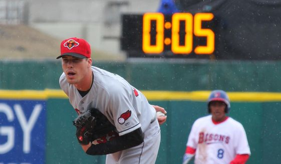 In this April 9, 2015, file photo, Rochester Red Wings pitcher Alex Meyer (32) looks in for a signal as a 20-second pitch clock is used for the Triple-A baseball opener between the Buffalo Bisons and Rochester Red Wings, in Buffalo, N.Y.   (AP Photo/Bill Wippert, File)  **FILE**
