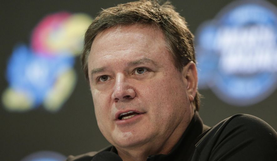 Kansas coach Bill Self speaks during a news conference at the NCAA men's college basketball tournament, in Omaha, Neb., Thursday, March 22, 2018. Kansas plays faces Clemson in a regional semifinal on Friday. (AP Photo/Nati Harnik)