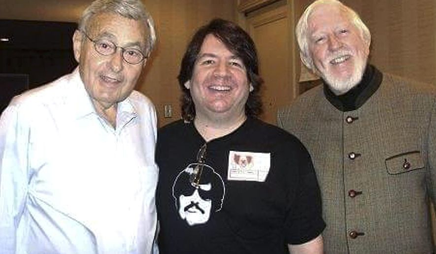 In this 2009 photo provided by his manager Stuart Hersh, Frank Avruch, left, who played Bozo the Clown, poses with Hersh, center and Carroll Spinney, who played Big Bird and Oscar the Grouch on Sesame Street, at the Chiller Theatre Expo in Parsippany, N.J. Avruch died Tuesday, March 21, 2018 at his Boston home from heart disease. He was 89. (Stuart Hersh via AP)