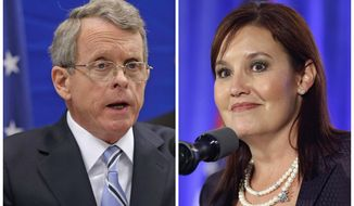 """FILE - A combination of file photos shows Republican candidates for governor Ohio Attorney General and former U.S. Sen. Mike DeWine, left, on Feb. 5, 2013, in Richfield, Ohio; and Lt. Gov. Mary Taylor, right, on Nov. 4, 2014, in Columbus, Ohio. Robert Paduchik, the co-chairman of the Republican National Committee is chastising one of the party's Ohio governor candidates for an ad he calls """"false and misleading"""" and disputing her claim to assume President Donald Trump's mantle. He challenged an ad the pro-Taylor super PAC Onward Ohio launched this week that attacks Taylor's GOP rival, Attorney General Mike DeWine, on immigration, guns and trade. (AP Photos/Tony Dejak, File)"""
