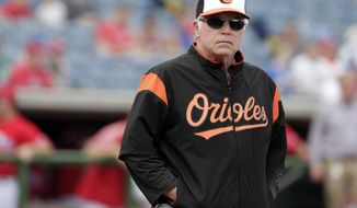 FILE - In this Feb. 24, 2018, file photo, Baltimore Orioles manager Buck Showalter stands on the field before a baseball spring exhibition game against the Philadelphia Phillies, Saturday, Feb. 24, 2018, in Clearwater, Fla. For several years now, the Orioles have operated under manager Buck Showalter with a core group of players led by Manny Machado, Adam Jones and Zach Britton. (AP Photo/Lynne Sladky, File)