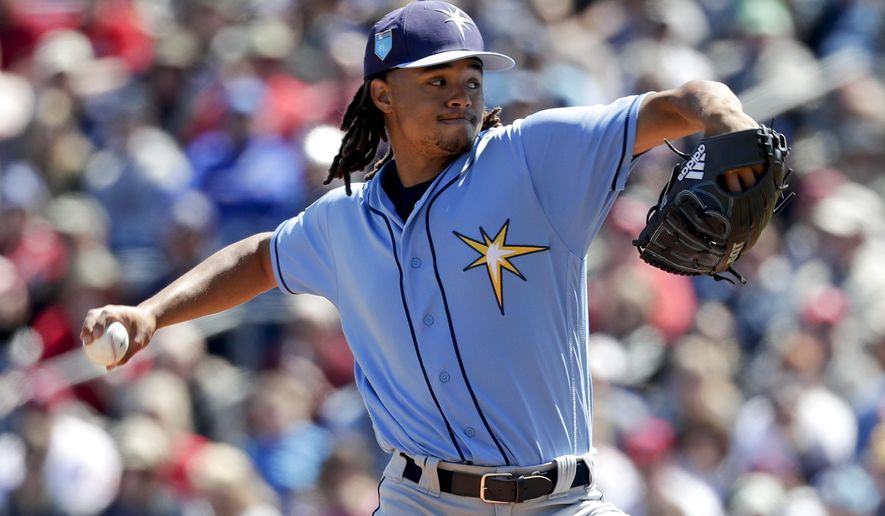 FILE - In this March 13, 2018, file photo, Tampa Bay Rays' Chris Archer pitches against the Philadelphia Phillies in the first inning of a spring baseball exhibition game,in Clearwater, Fla. The young Rays feel they have a chance to be more competitive than an offseason of trimming salary might suggest. (AP Photo/John Raoux, File)