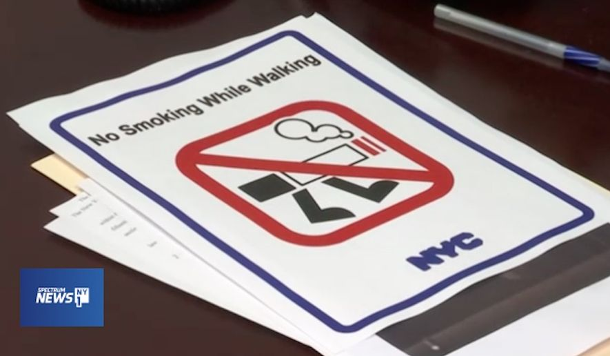 New York City Council member Peter Koo proposed a bill Thursday that would ban people from smoking while walking in most public places in the city. (NY1)