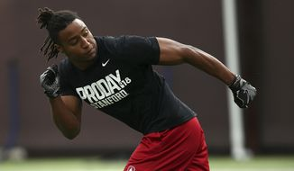 Stanford's defensive back Justin Reid runs a drill during Pro Day, Thursday, March 22, 2018, in Stanford, Calif. Pro day is intended to showcase talent to NFL scouts for the upcoming draft. (AP Photo/Ben Margot)