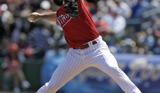 Philadelphia Phillies' Jake Arrieta pitches to the Detroit Tigers during the first inning of a spring training baseball game Thursday, March 22, 2018, in Clearwater, Fla. (AP Photo/Chris O'Meara)