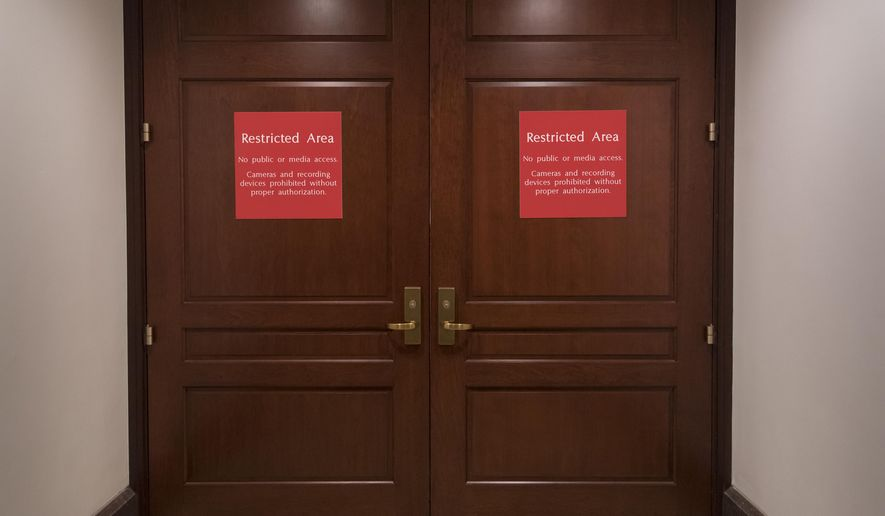The doors to a secure are where the House Intelligence Committee meets are shut as the GOP majority prepares to end its participation in the Russia probe, officially shutting down the panel's investigation, on Capitol Hill in Washington, Thursday, March 22, 2018. (AP Photo/J. Scott Applewhite)