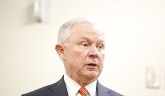 Attorney General Jeff Sessions speaks during a news conference at UAB Women and Infants Center, Friday, March 23, 2018, in Birmingham, Ala. (AP Photo/Brynn Anderson)
