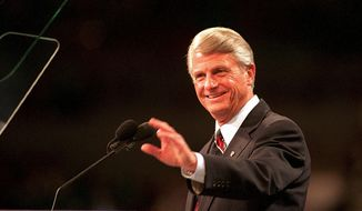 FILE - In this July 13, 1992 file photo, Georgia Gov. Zell Miller waves to delegates at the Democratic Convention in New York. A family spokesperson said he died Friday, March 23, 2018. He was 86. (AP Photo/Joe Marquette)