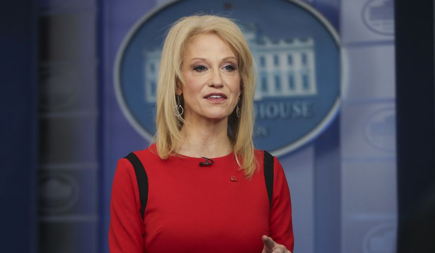 Counselor to the President Kellyanne Conway speaks during her interview with CNN in the White House Press Brady Press Briefing Room, Friday, March 23, 2018, in Washington. (AP Photo/Pablo Martinez Monsivais) ** FILE **