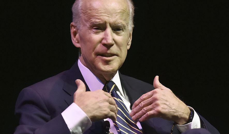 Former U.S. Vice President Joe Biden speaks during a moderated conversation with WNPR's Lucy Nalpathanchil at the annual Mary and Louis Fusco Distinguished Lecture Series at Southern Connecticut State University, Friday, March 23, 2018, in New Haven, Conn. (Catherine Avalone/New Haven Register via AP)