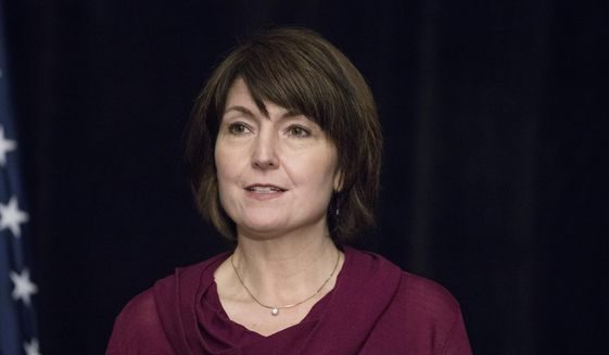 In this Jan. 25, 2017, file photo, Rep. Cathy McMorris Rodgers, R-Wash., speaks with members of the media during a news conference at the Republican congressional retreat in Philadelphia. (AP Photo/Matt Rourke, File)