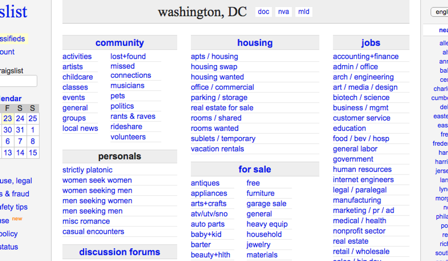 Craigslist's Washington, D.C., page, is shown in this screen capture from March 2018. **FILE**