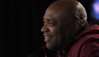 Florida State coach Leonard Hamilton speaks during a news conference at an NCAA men's college basketball tournament regional Friday, March 23, 2018, in Los Angeles. Florida State faces Michigan in the regional final Saturday. (AP Photo/Mark J. Terrill)