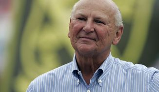 FILE- This Sept. 16, 2007, file photo shows H. Wayne Huizenga on the sidelines before a football game between the Miami Dolphins and the Dallas Cowboys at Dolphin Stadium in Miami. Huizenga, a college dropout who built a business empire that included Blockbuster Entertainment, AutoNation and three professional sports franchises, has died. Valerie Hinkell, a longtime assistant to Huizenga, said Friday that he died Thursday night, March 22, 2018, at his South Florida home. He was 80.  (AP Photo/Lynne Sladky, File)