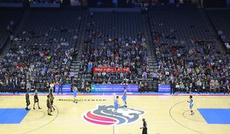 Many seats of the Golden 1 Center sit empty for the Sacramento Kings' NBA basketball game against the Atlanta Hawks, after protesters blocked the entrance to the arena, Thursday, March 22, 2018, in Sacramento, Calif. The demonstration was over the shooting death of Stephon Clark on Sunday by Sacramento police officers. (AP Photo/Rich Pedroncelli)
