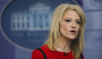 Counselor to the President Kellyanne Conway speaks during her interview with CNN in the White House Press Brady Press Briefing Room, Friday, March 23, 2018 in Washington. (AP Photo/Pablo Martinez Monsivais)