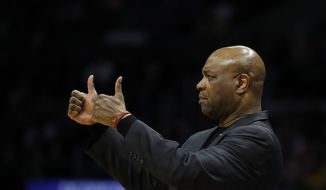 Florida State coach Leonard Hamilton gestures during the first half of the team's NCAA men's college basketball tournament regional final against Michigan on Saturday, March 24, 2018, in Los Angeles. (AP Photo/Jae Hong) **FILE**
