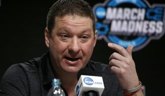 Texas Tech coach Chris Beard speaks during a news conference at the NCAA men's college basketball tournament, Saturday, March 24, 2018, in Boston. Texas Tech will face Villanova in a regional final on Sunday. (AP Photo/Elise Amendola)