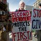 Pro-gun demonstrators protest during the March for Our Lives rally in support of gun control in Washington, on Saturday on Pennsylvania Avenue near the Capitol. Some 800,000 people came to the anticipated rally. (Associated Press)