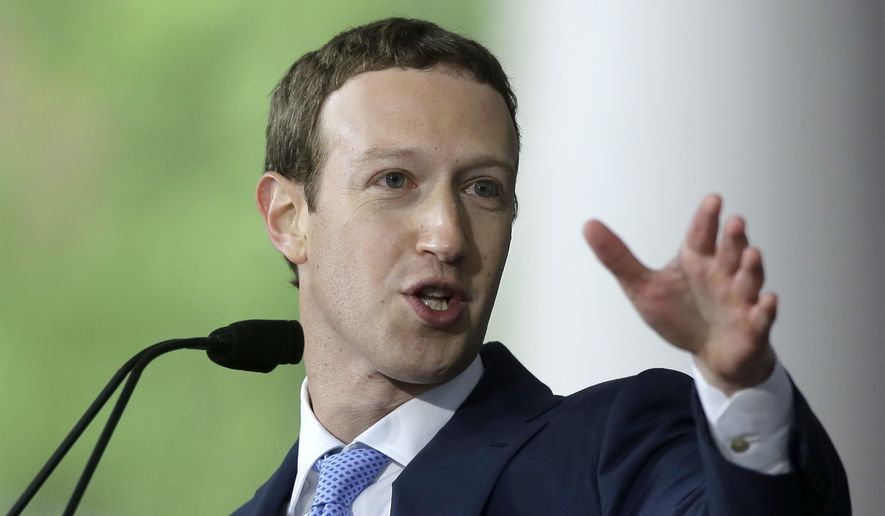 In this May 25, 2017, file photo, Facebook CEO Mark Zuckerberg delivers the commencement address at Harvard University in Cambridge, Mass. (AP Photo/Steven Senne, File)