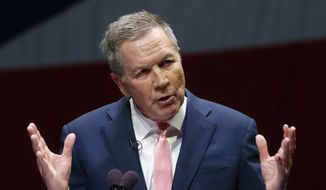 Ohio Gov. John Kasich speaks during the Ohio State of the State address in the Fritsche Theater at Otterbein University in Westerville, Ohio, Tuesday, March 6, 2018. (AP Photo/Paul Vernon) ** FILE **