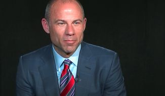In this image from video, Michael Avenatti, attorney and spokesperson for adult film star Stormy Daniels, listens to a reporters' question during an interview at The Associated Press, Wednesday, March 21, 2018, in New York. By the time the nation sees Stormy Daniels tell her story of an affair with President Donald Trump, the alleged romp will have spawned a new media star. Avenatti, Daniels lawyer, has figured out how to play the publicity game as relentlessly as Trump himself. And theres not much the Twitter-loving president can do about it. (AP Photo/Joe Frederick)