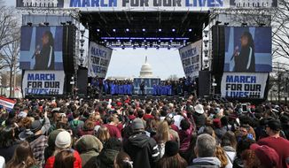 "Jennifer Hudson and the DC choir perform ""The Times They Are A Changin'"" during the ""March for Our Lives"" rally in support of gun control, Saturday, March 24, 2018, in Washington. (AP Photo/Alex Brandon)"