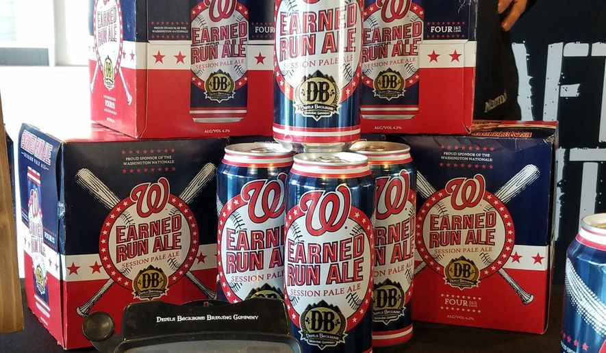 Earned Run Ale, the Washington Nationals' beer brewed by Devils Backbone Brewing, will be sold outside Nationals Park for the first time in 2018. Sixteen-ounce cans like these will be sold in four-packs in the District, Maryland and Virginia. (Photo by Adam Zielonka / The Washington Times)