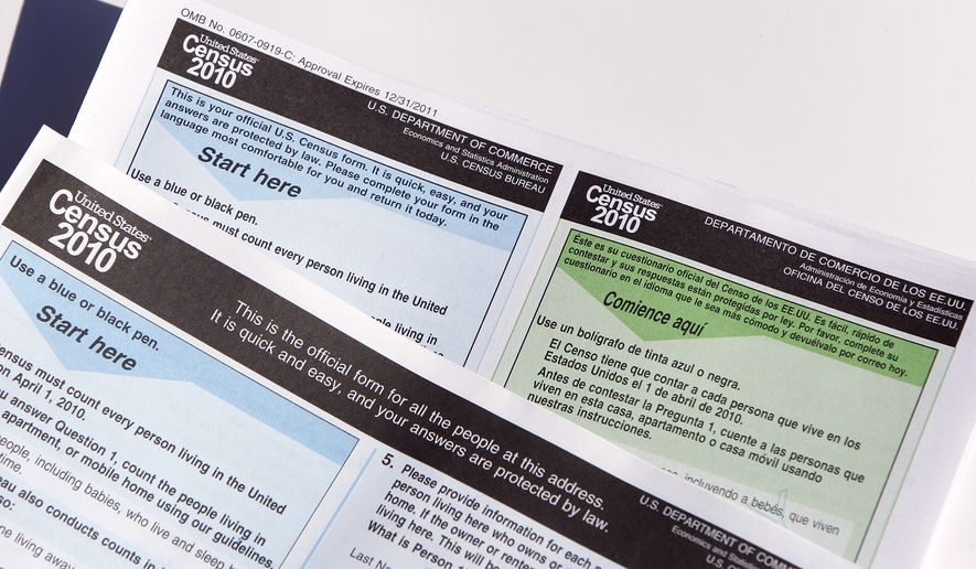 Copies of the 2010 Census forms shown during a news conference Monday, March 15, 2010, in Phoenix. (AP Photo/Ross D. Franklin)