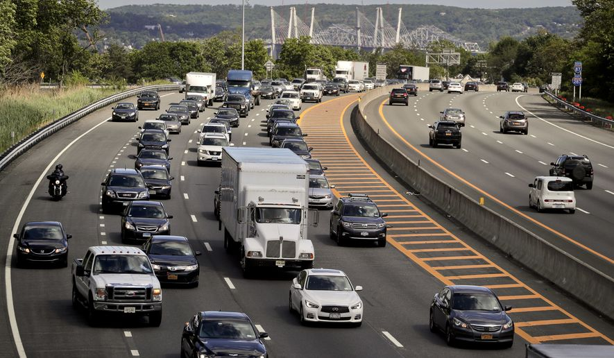 Traffic crawls along the westbound lanes of Interstate 287 as motorists get a jump on Memorial Day weekend, Friday, May 26, 2017, in Nyack,N.Y. Stable gasoline prices are expected to fuel a slight increase in long trips this Memorial Day weekend, and the AAA auto club predicts that 39 million Americans will make a trip of at least 50 miles this weekend, up 2.7 per cent from the same holiday last year. (AP Photo/Julie Jacobson)