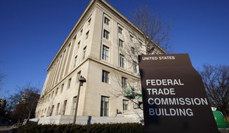 """FILE - This Jan. 28, 2015, file photo, shows the Federal Trade Commission building in Washington. The Federal Trade Commission is investigating Facebook's privacy practices following a week of privacy scandals including whether the company engaged in """"unfair acts"""" that cause """"substantial injury"""" to consumers. Facebook said in a statement on Monday, March 26, 2018, that the company remains """"strongly committed"""" to protecting people's information and that it welcomes the opportunity to answer the FTC's questions. (AP Photo/Alex Brandon, File)"""