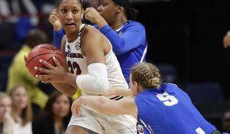 South Carolina's A'ja Wilson (22) looks to pass away from Buffalo's Katherine Ups (5) during the second half in a regional semifinal at the NCAA women's college basketball tournament Saturday, March 24, 2018, in Albany, N.Y. South Carolina won 79-63. (AP Photo/Frank Franklin II)