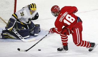 Boston University's Jordan Greenway (18) can not get the shot off against Michigan's Hayden Lavigne (30) during the first period of the NCAA northeast regional championship hockey game in Worcester, Mass., Sunday, March 25, 2018. (AP Photo/Michael Dwyer)