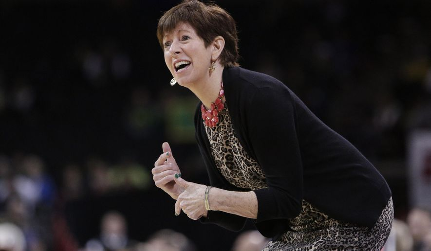 Notre Dame head coach Muffet McGraw shouts to her team during the first half in a regional final at the NCAA women's college basketball tournament against Oregon, Monday, March 26, 2018, Spokane, Wash. (AP Photo/Young Kwak)