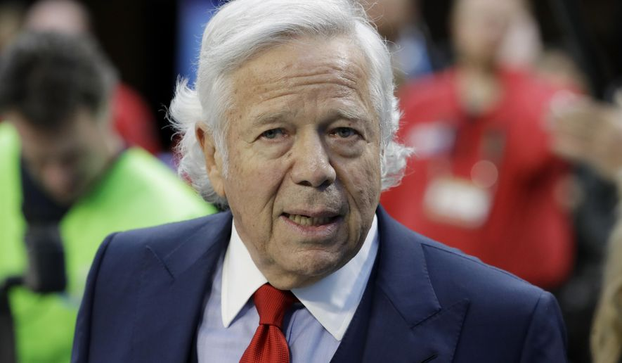 FILE - In this Feb. 4, 2018, file photo, New England Patriots owner Robert Kraft arrives at U.S. Bank Stadium before the NFL Super Bowl 52 football game against the Philadelphia Eagles, in Minneapolis. Every marriage has its ups and downs. So New England Patriots owner Robert Kraft urges everyone not to read too much into any reported discord in his organization. Kraft praised Bill Belichick on Monday, March 26, 2018, when asked about some of the unusual decisions the coach made in the Super Bowl loss to Philadelphia. (AP Photo/Chris O'Meara, File)