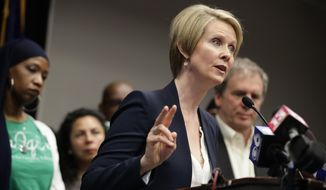"""Candidate for New York governor Cynthia Nixon speaks during a news conference Monday, March 26, 2018, in Albany, N.Y. The """"Sex and the City"""" star and public education advocate is challenging Gov. Andrew Cuomo in September's Democratic primary. (AP Photo/Frank Franklin II)"""