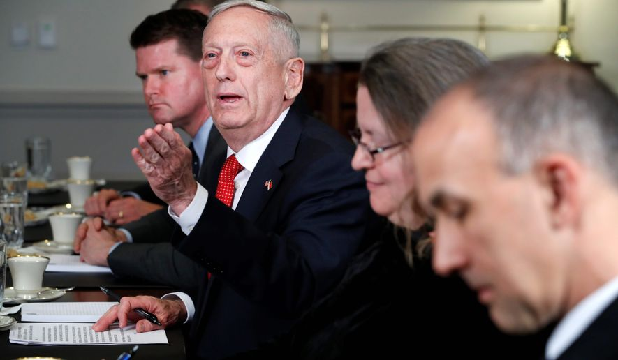 """We have the best budget predictability we've had in a dozen years with the two years of congressional intent,"" said Secretary of Defense James N. Mattis. ""It was passed with bipartisan support, showing the defense of this country is a nonpartisan issue."" (Associated Press)"