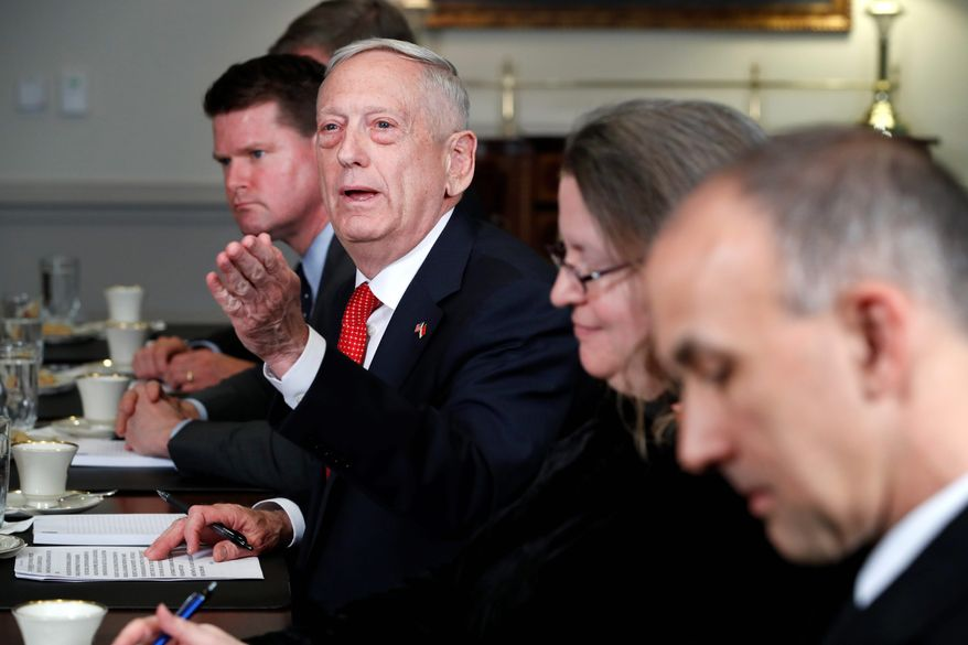 Secretary of Defense Jim Mattis answers a question from a reporter during his meeting with Indonesia's Minister of Foreign Affairs Retno Marsudi, Monday, March 26, 2018, at the Pentagon. (AP Photo/Jacquelyn Martin) ** FILE **