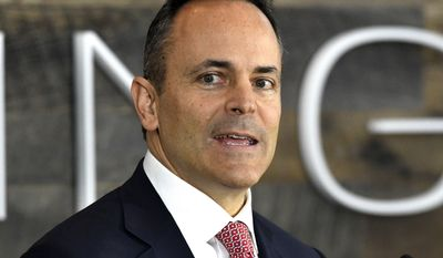 In this Oct. 30, 2017, file photo, Kentucky Gov. Matt Bevin, speaks at the dedication ceremony for the new Toyota production engineering and manufacturing center in Georgetown, Ky. (AP Photo/Timothy D. Easley, File)