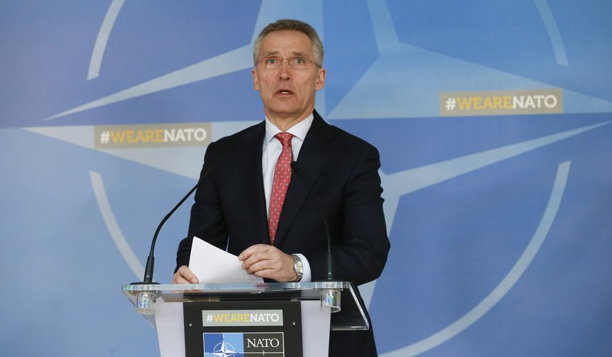 In this file photo, NATO Secretary General Jens Stoltenberg speaks during a media conference at NATO headquarters in Brussels on Tuesday, March 27, 2018. (AP Photo) **FILE**