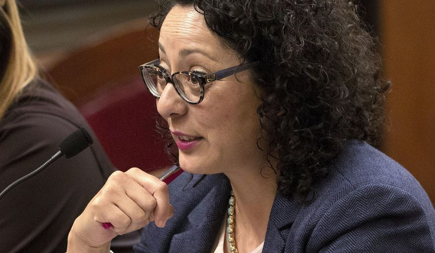FILE - In this June 22, 2016, file photo, Assemblywoman Cristina Garcia, D-Bell Gardens, speaks at the Capitol in Sacramento, Calif. Garcia, who had been under a sexual misconduct investigation, said she's frustrated the investigation has stretched on for nearly two months, during an interview with the Associated Press, Tuesday, March 27, 2018. (AP Photo/Rich Pedroncelli, File)