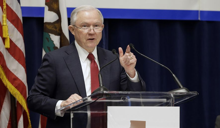 In this March 7, 2018, file photo, U.S. Attorney General Jeff Sessions addresses the California Peace Officers' Association at the 26th Annual Law Enforcement Legislative Day in Sacramento, Calif. Orange County is considering two proposals to fight back against California's so-called sanctuary law for immigrants. The backlash to the state's effort to protect immigrants from stepped up deportations under the Trump administration comes a week after Los Alamitos voted to seek to exempt itself from the law. (AP Photo/Rich Pedroncelli, File)