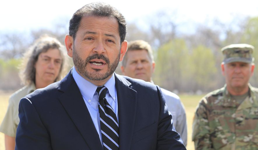 New Mexico Lt. Gov. John Sanchez discusses the potential for a severe fire season across the state as dry conditions persist and spring winds pick up during a news conference in Albuquerque, N.M., on Tuesday, March 27, 2018. Sanchez was joined by dozens of state and federal land managers and municipal officials as he warned residents to be prepared for the wildfire season. (AP Photo/Susan Montoya Bryan)