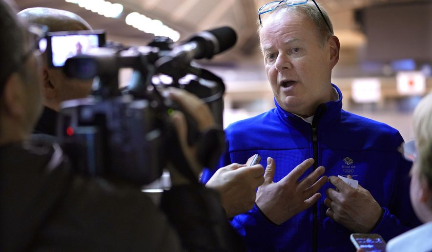 Director of Sport for the British Olympic Association Mark England speaks during an interview after inspect a Tokyo 2020 Summer Olympics and Paralympics venue the Tokyo gymnasium in Tokyo, Tuesday, March 27, 2018. (AP Photo/Shizuo Kambayashi)